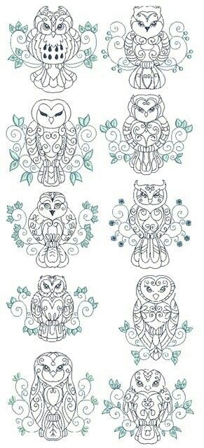 Owls -- the one on the bottom left looks like a russian stacking doll. would make a cute tattoo