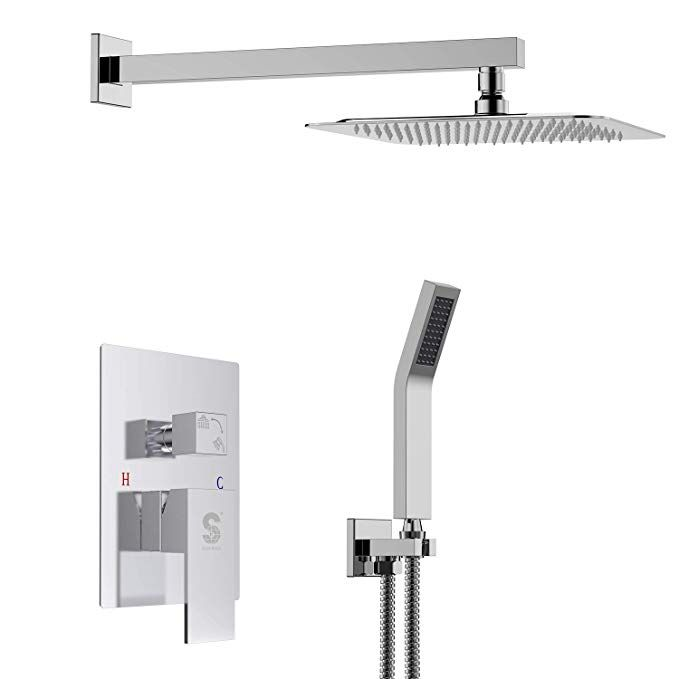 Sr Sun Rise Srsh D1203 12 Inch Bathroom Luxury Rain Mixer Shower Combo Set Wall Mounted Rainfall Shower He Mixer Shower Rain Shower System Rainfall Shower Head
