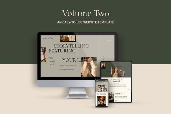 Website Template Volume Two By Lindseyeryn On Creativemarket Design Webdesign Gr Simple Website Design Website Template Business Card Design Minimalist