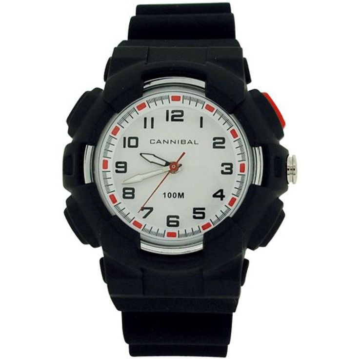 Cannibal Active Boys White Dial EL-Backlight Black Plastic Strap Watch CJ272-01. This unique, sturdy, and trendy kids watch by Cannibal from the Active range is a high functioning timepiece which will serve any boy well. This watch is an ideal gift for him. Product Features: * Quartz movement. * White dial. * Hour, minute and second hands, hour and minute hands are luminous. * Backlight * Stainless steel case back. * 10ATM water resistant. Strap Measurements: This watch fastens with a…