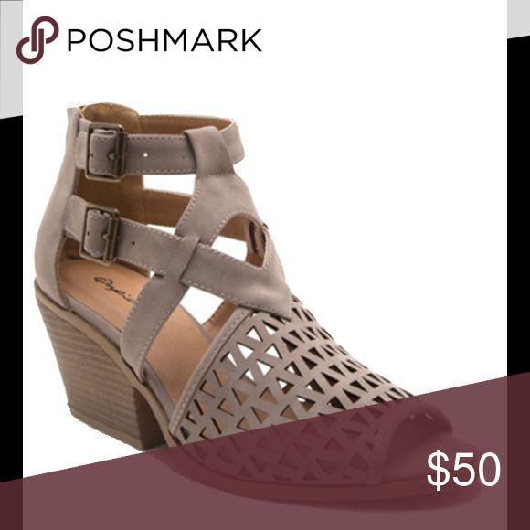 Ladies high top side buckles chunky heels sandal Very stylish high top sandals with two side buckles and back zipper. Man made materials, Taupe color, low chunky heels, Brand new in box. NO TRADES shoeeoom21 boutique Shoes Sandals