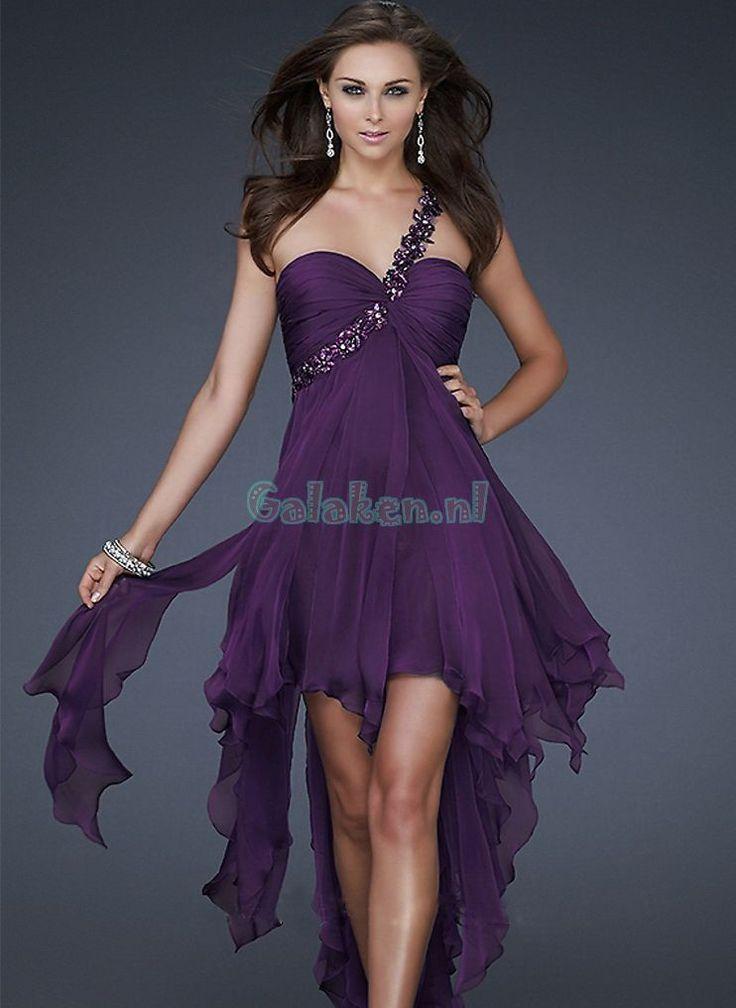 A-lijn One-shoulder Asymmetrical Chiffon Prom jurken