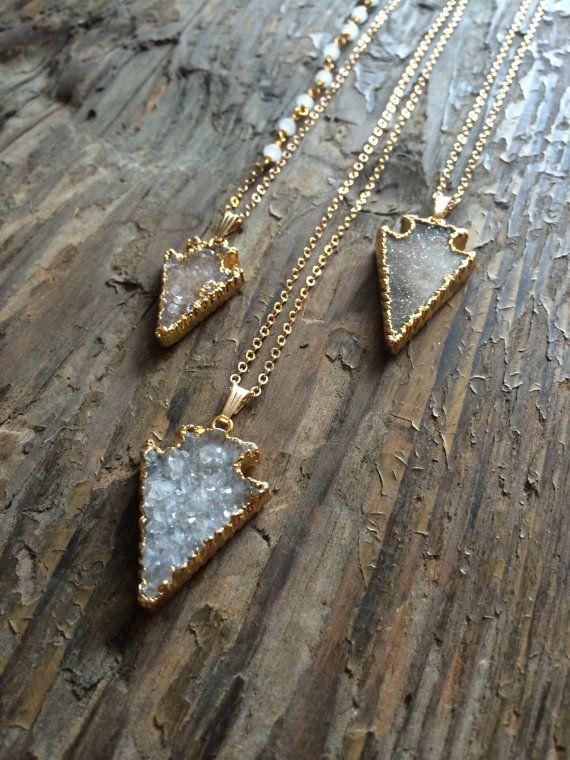 Druzy Necklace Druzy Arrowhead Necklace by VanTassellAndNash