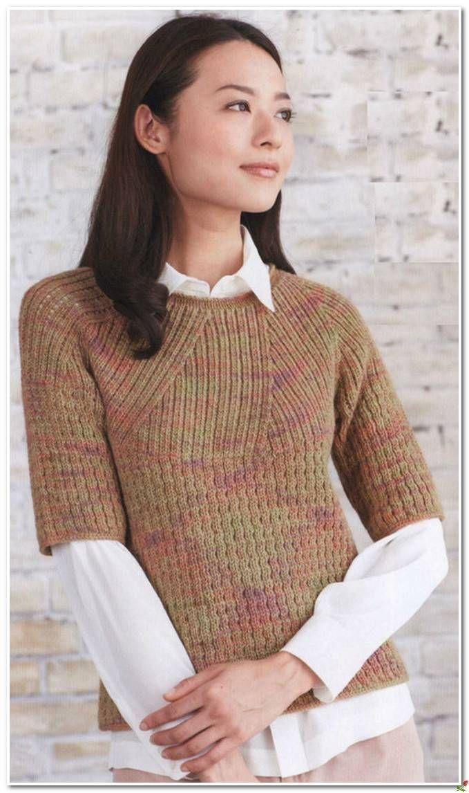 Интересный пуловер на круглой кокетке спицами.. Обсуждение на LiveInternet - Российский Сервис Онлайн-Дневников