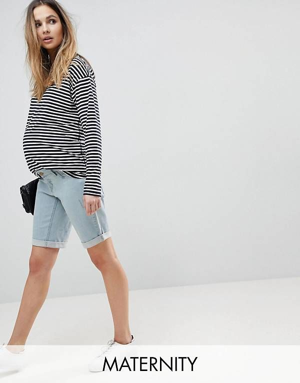 31257f87 Bandia Maternity Over The Bump Boyfriend Shorts With Removable Bump ...