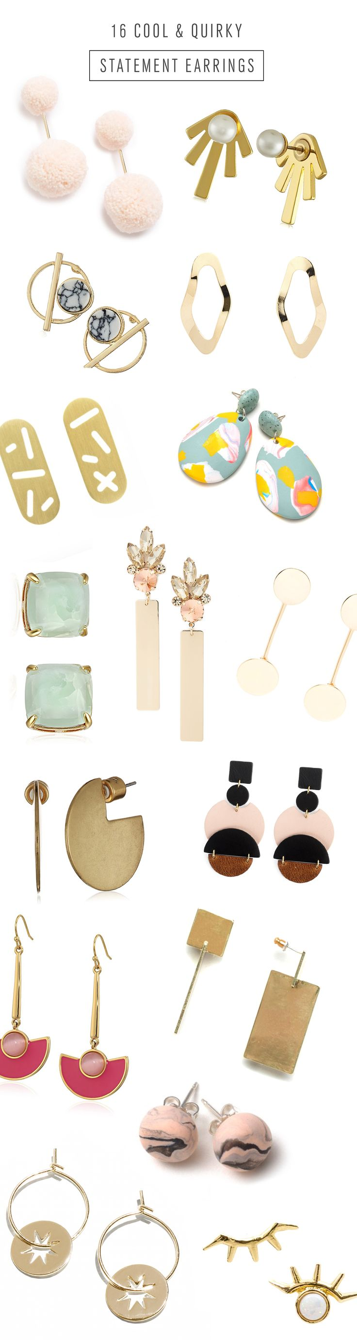Putting together all of our favorite jewelry this year. First up, the most cool and quirky Statement Earrings for this winter!
