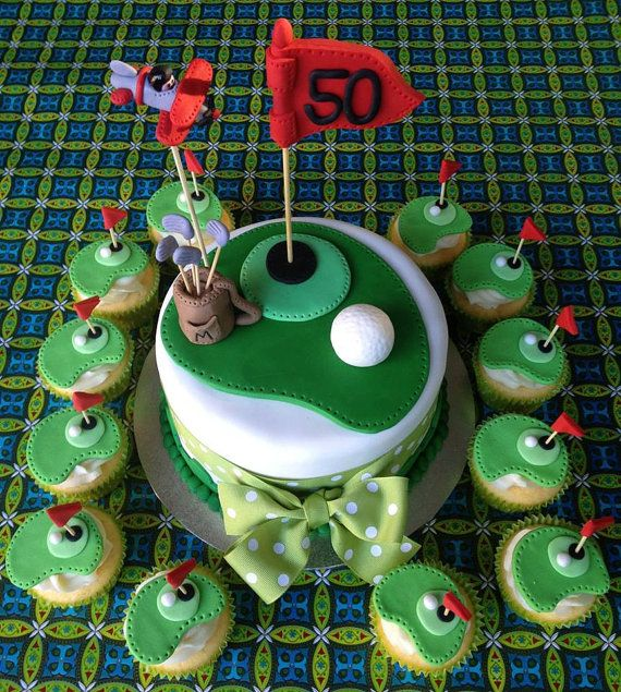 12 Golf Theme Fondant Cupcake Toppers by ECTOPPERS on Etsy, $19.99