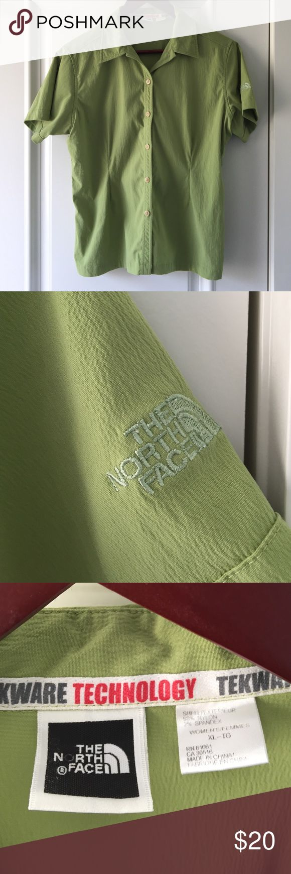 North Face Button Down Shirt Size XL. Lime green. Pet and smoke free home. North Face Tops