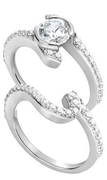 14K White Gold Bypass Ring with Bezel Setting and matching Diamond Band (.61 ct. tw.)