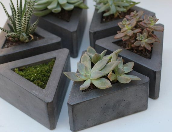 This is a listing for triangle concrete pot set of 3. Dimension of each: 5 1/2 W x 2 5/8 H This is a sample set . If you want a different amount of pots just convo me. Ill set up a custom listing. Finished with a satin sealer. Cork pads attached. Feel free to convo me with any questions Thank you for shopping