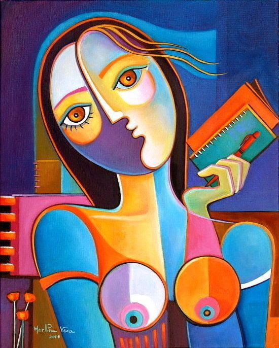 Cubisme Art peinture à l'huile sur toile rouge stylo écrivain Scoubidou Vera Galerie contemporain oeuvre Picasso Style vente d'Art moderne