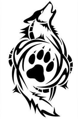 TrIbal Wolf Paw Print  Decal VINYL STICKER Funny WINDOW CAR