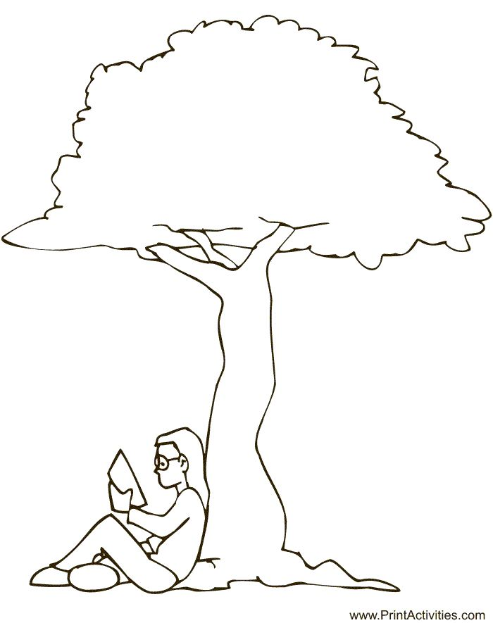 Printable Summer Coloring page Reading under tree