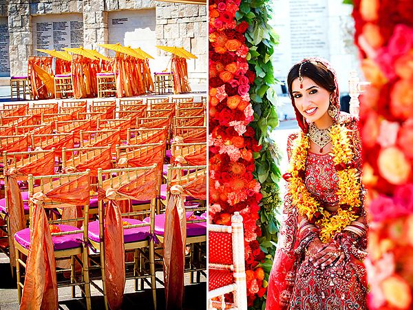 Super colorful #mandap #indian #wedding #hindu #bride #groom #sari #bollywood #garland #traditional #chairs #flowers