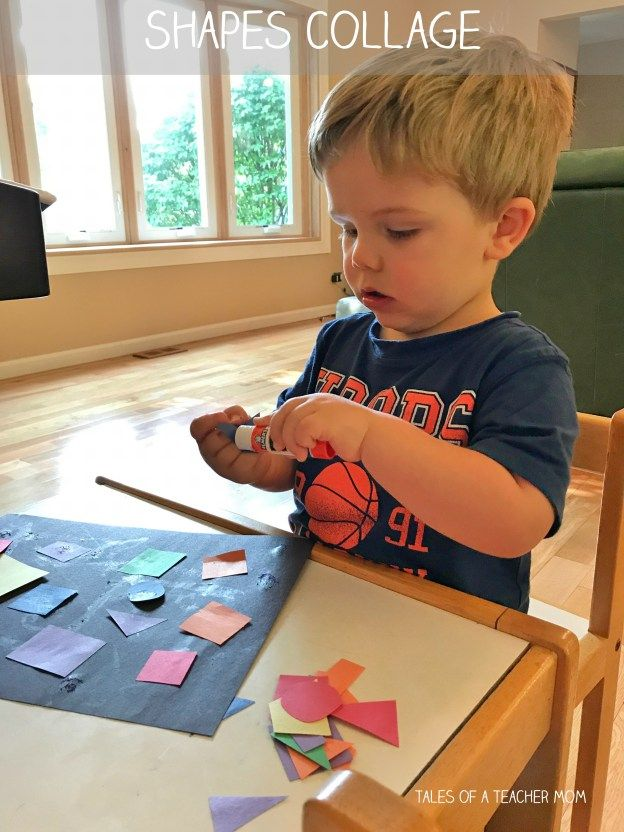 Shapes collage - a toddler glue stick activity