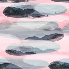 Abstract Landscape Pink by Miam design Seamless Repeat  Exclusive Pattern