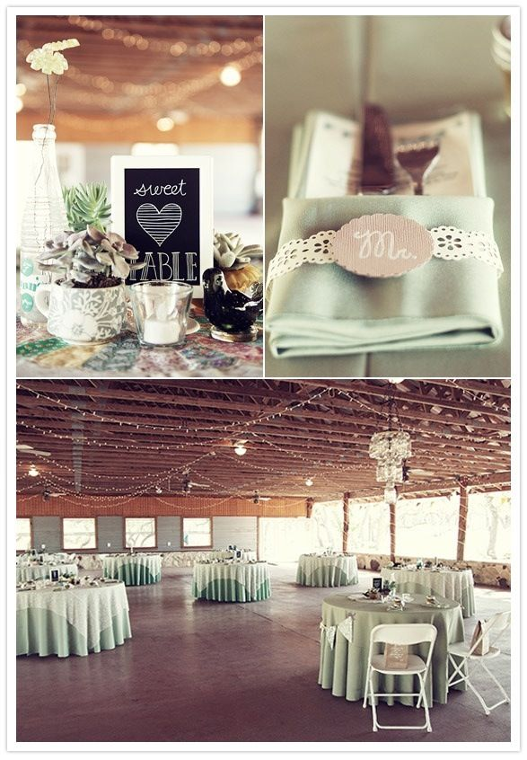 linens - round mint tablecloths with square lace over cloths