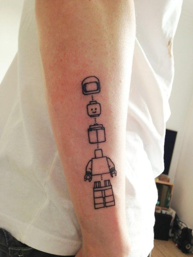 Connect the lines of Lego. | 32 Lego Tattoos That Will Thrill Your Inner Child #ink #tattoo #lego