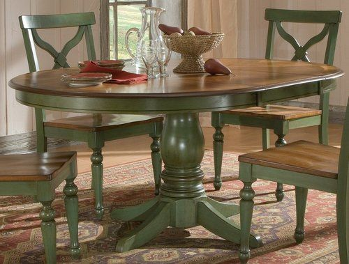 Sidney Dining Room Set Green Country French Round Table And 4 Chairs