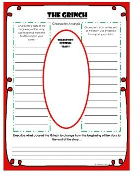 This activity is made to accompany the book The Grinch by Dr. Seuss.  After reading the story, the students will perform a character analysis, picking out how the Grinch changes throughout the story, and what causes him to change. There is also an area for the student to illustrate the Grinch's physical traits.