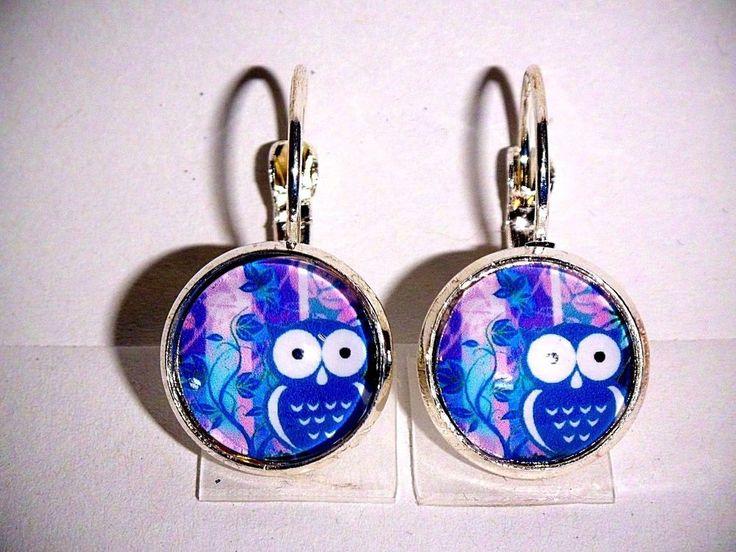 Ohrringe Eule Tiere Blau Damen Ohrschmuck Modeschmuck Glas Cabochon Leverback #eule #herbst #ohrringe #handmade