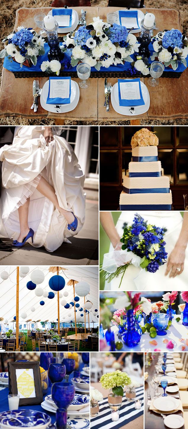 Blue & White paper lanterns--Also notice the blue ribbon on the cake with flowers on top (Blue flowers would be better)