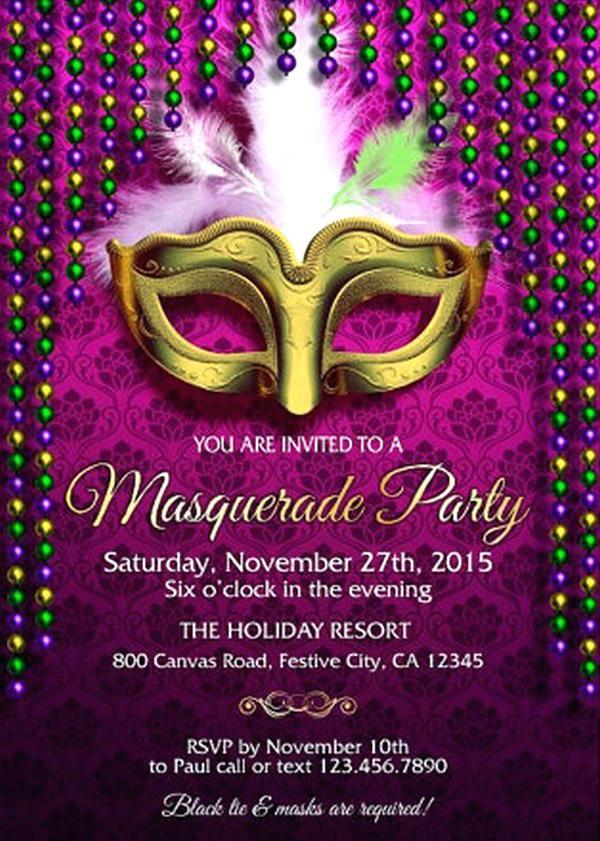 Good Mardi Gras Party Invitation Template Free For Masquerade Party Invitation Exampl Masquerade Party Invitations Party Invite Template Mardi Gras Invitations