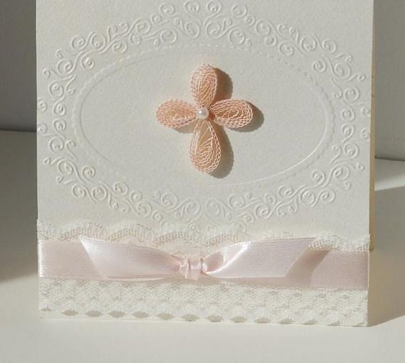 Handmade christening invitation/Cross christening