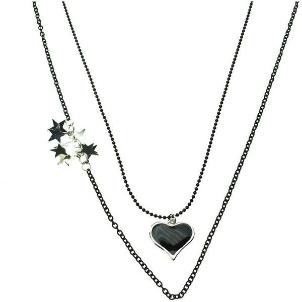 INNOCENT LIFESTYLE HEART STARS NECKLACE (ANLR) LADIES BLACK (€6,39) ❤ liked on Polyvore featuring jewelry, necklaces, spiral necklace, rock jewelry, rock necklaces, heart shaped necklace and heart necklaces