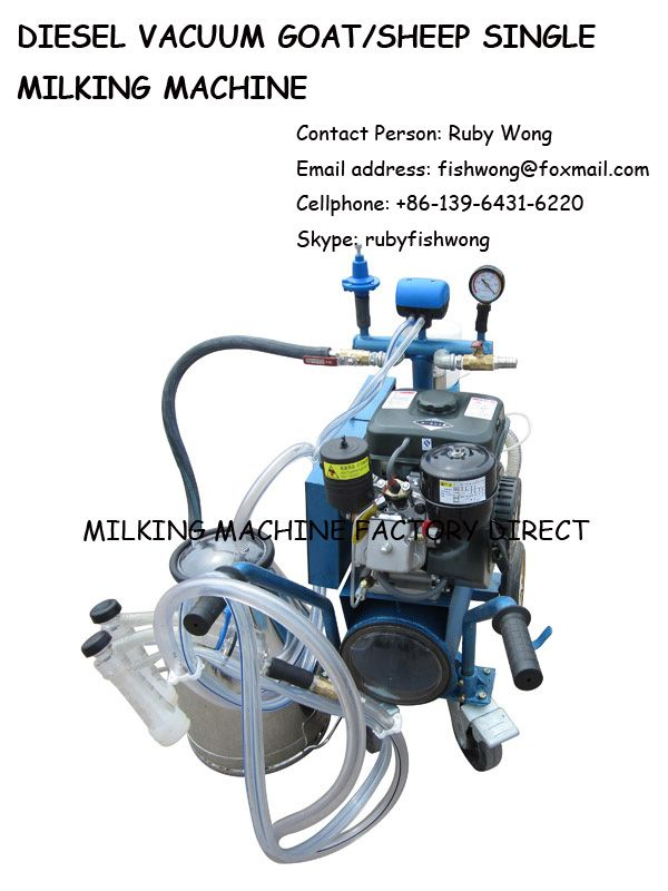 Diesel Vacuum Goat/sheep Milking Machine with Single Bucket