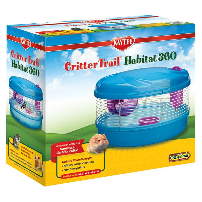 Kaytee Small Animal Crittertrail 360 Habitat  | The Crittertrail 360 Habitat is a great home for any hamster, mouse or gerbil. The unique round design makes cleaning easy and eliminates edges that animals would otherwise chew and wear down. The habitat comes complete with water bottle, feeding dish, exercise wheel, and wire access door. E…