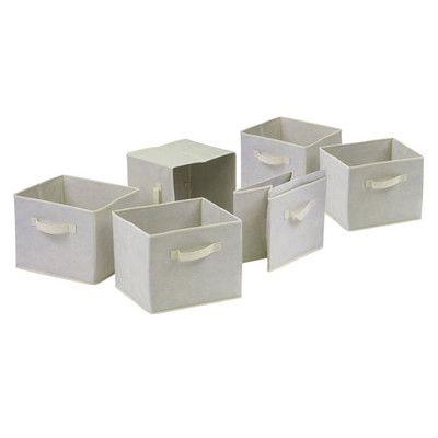 Winsome Capri Foldable Fabric Baskets in Beige | Wayfair