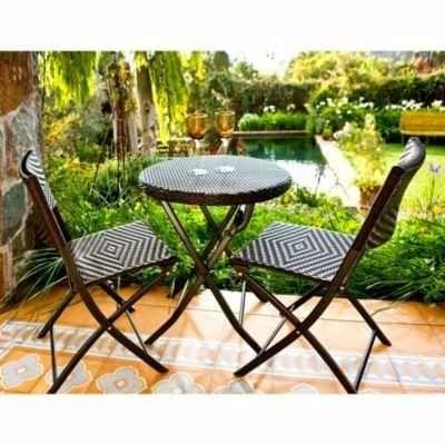 Juego balc n ratt n 3 piezas mesa y sillas plegables for Mesas y sillas para patios