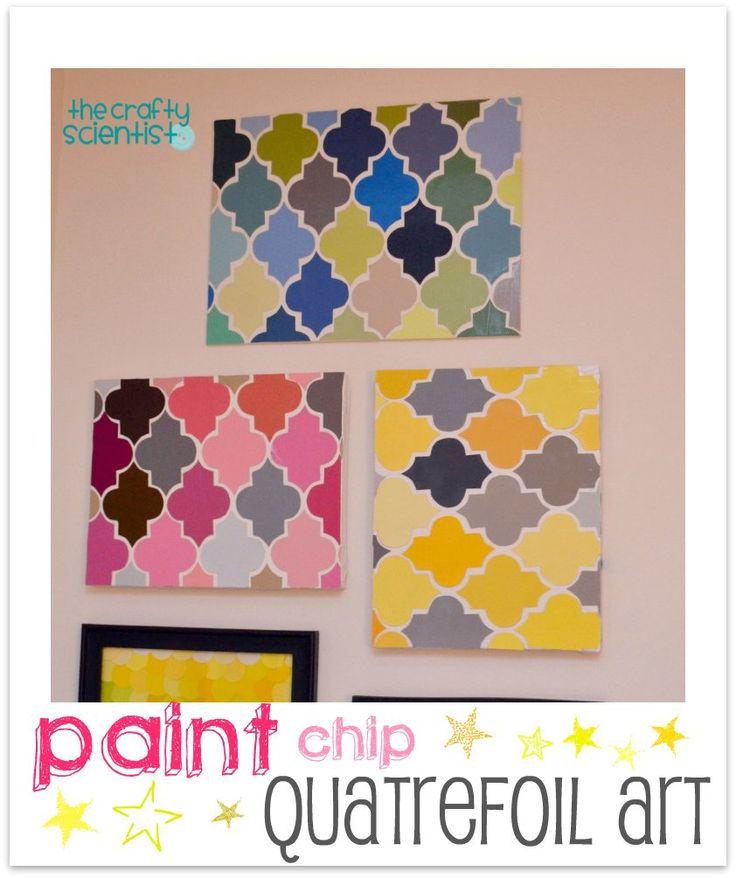 Quatrefoil Art.  She used paint chips.  Buy the Moroccan Medallion shape from the Silhouette store and it would be super quick and easy.
