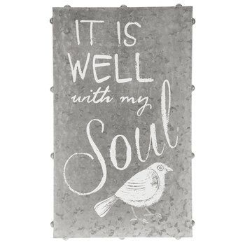 It is Well with My Soul Galvanized Tin Wall Art, Natural, 12 x 20 x 1 1/4 inches