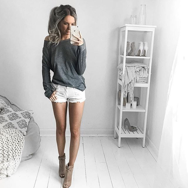 White Distressed Jean Shorts Dolman Grey Long Sleeve Top Chinese Laundry Liam Leather Peeptoe Booties