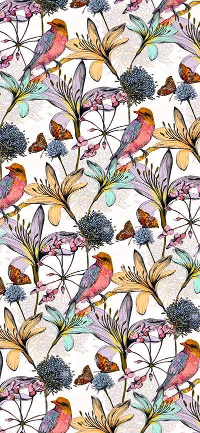 Motif floral Fleurs et oiseaux Par Charlotte Duffy