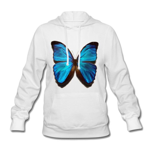 Blue Morpho Women's Hooded Sweatshirt White Women's Hooded Sweatshirt... ($41) ❤ liked on Polyvore featuring tops, hoodies, hooded sweatshirt, white hoodies, white cotton hoodie, white pullover hoodie and white hooded sweatshirt