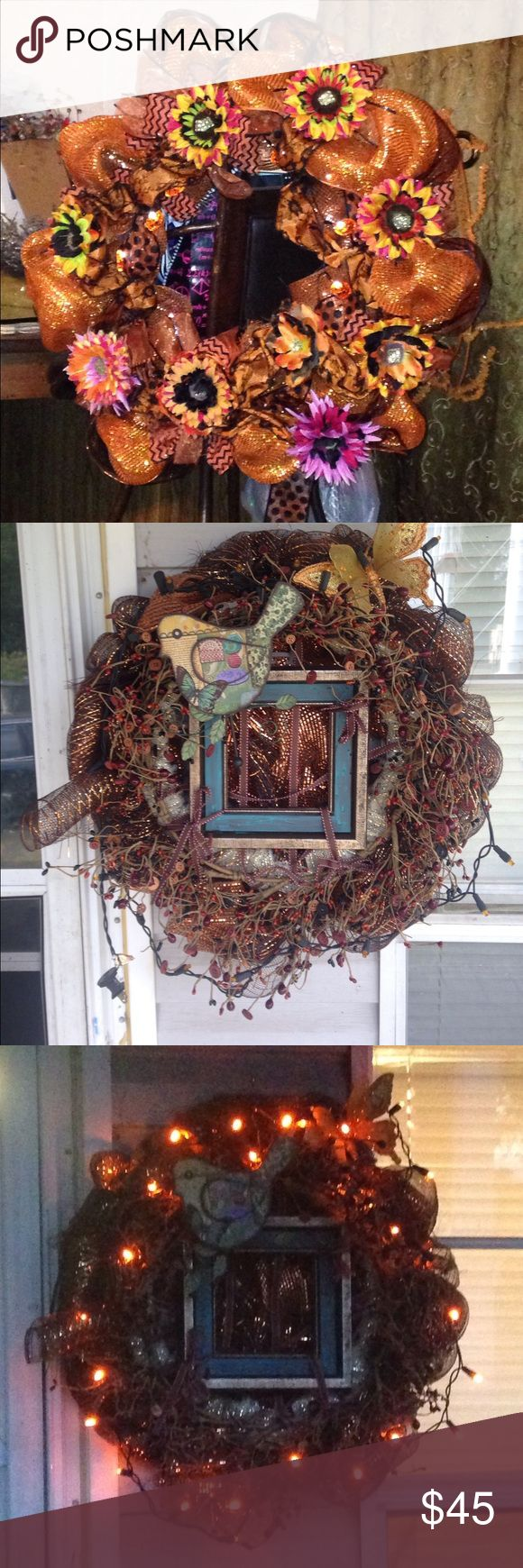 Handmade deco mesh wreaths. I  have made these and a few others (I will add them later) the first one is a fall or can be just for any time of the year? The next two are the same wreath made out of mesh and this beaded and buttoned wrapping vine with a bird and butterfly accent and lights. The last one is a Razorback wreath. Other