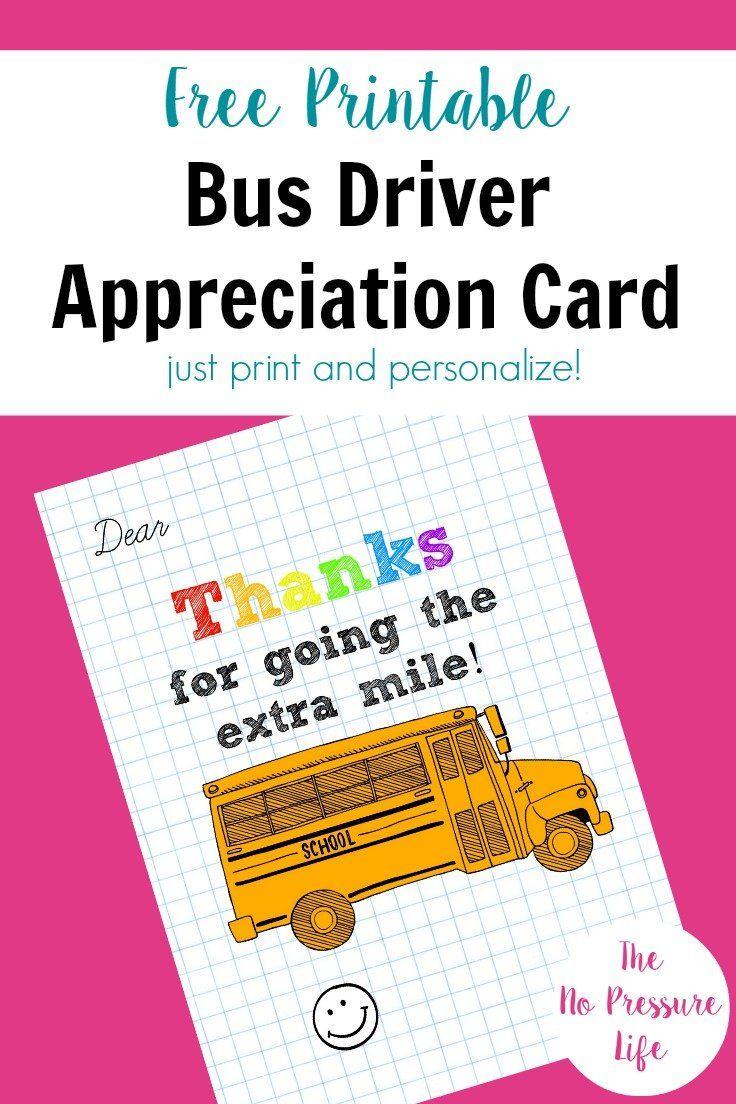 Bus Driver Appreciation Card Free Printable! in 2020