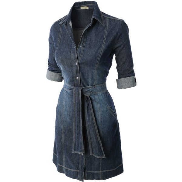 LE3NO Womens Casual Flared Button Down Chambray Denim Shirt Dress (£25) ❤ liked on Polyvore featuring dresses, blue dress, flare dress, button down shirt dress, blue shirt dress and long denim shirt dress