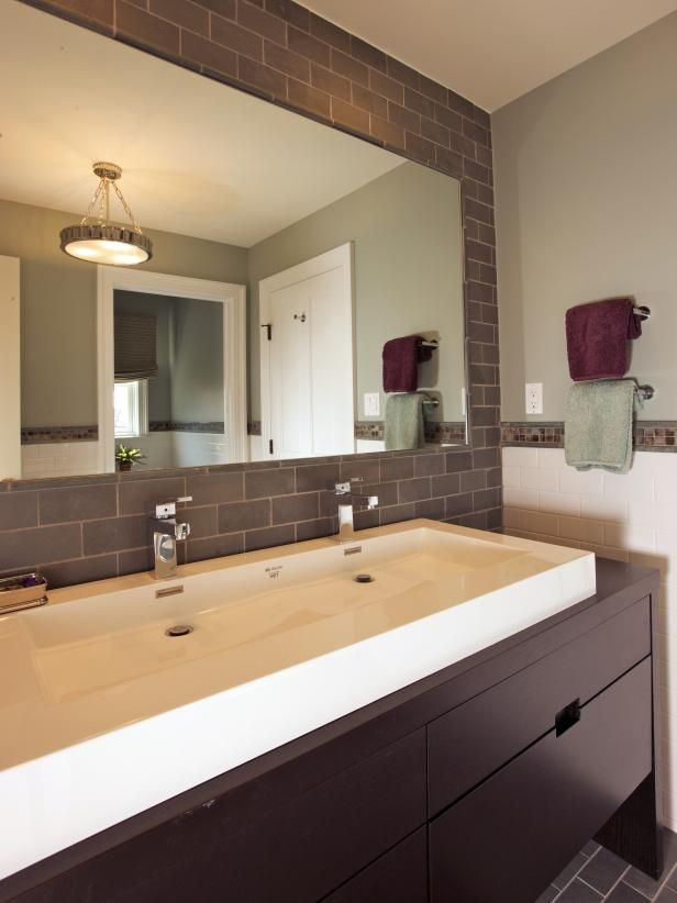 Check out ths contemporary bathroom with gray tile on HGTV.com.