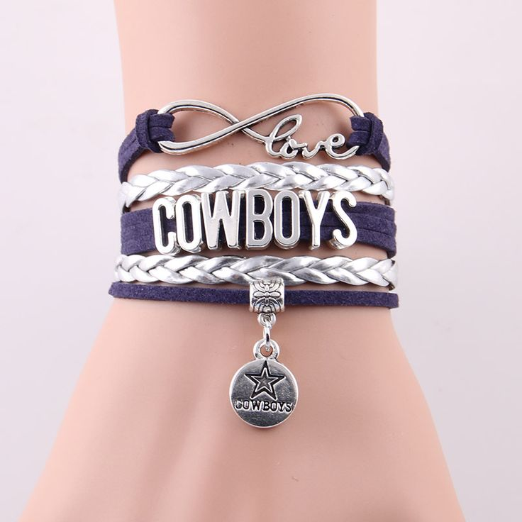 Infinity Love Dallas Cowboys bracelet NFL sport gift Football team Charm bracelet & bangles for women men jewelry Drop Shipping