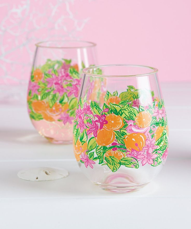 Lilly Pulitzer Stemless Acrylic Wine Glasses ($20 Set of 2)