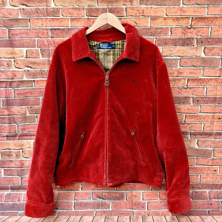 Polo By Ralph Lauren Mid Red Cord Zip up Vintage Jacket Size XL Rare plaid inner