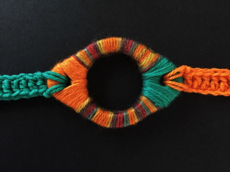 A personal favourite from my Etsy shop https://www.etsy.com/au/listing/229281911/orange-and-teal-gasket-crochet-necklace