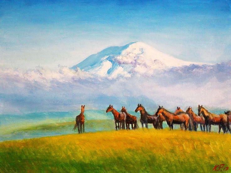 Табун лошадей у гор   (Грунтованный оргалит, масло. Размеры 30*40) Дух свободы и красоты...