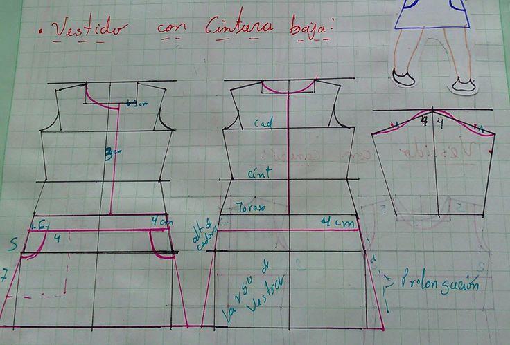 Diseño de modas, tercer módulo: Patronaje de Vestidos de niña, Con cintura baja