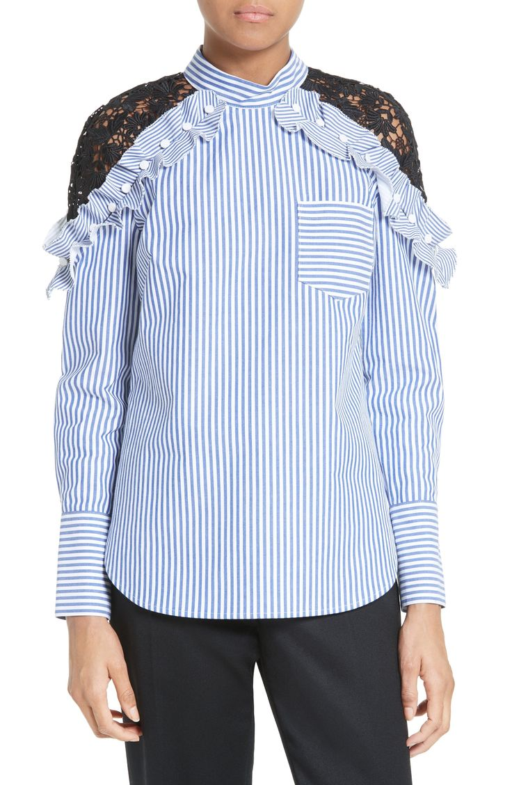 New Self-Portrait Lace Shoulder Stripe Shirt NEUTRAL fashion online. [$135.98] new offer from Newtstyle Shop<<
