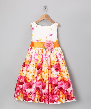 Love this Pink & Yellow Flower Dress - Toddler & Girls on #zulily! #zulilyfinds